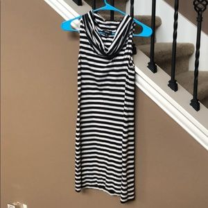 Express black and white stripe dress xs